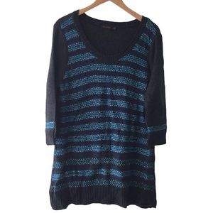The limited striped sweater dress gray blue XL